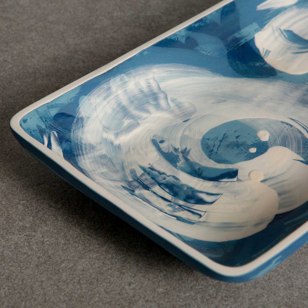 The Great Wave Ceramic Plate by Rowena Gilbert Under the Waves S