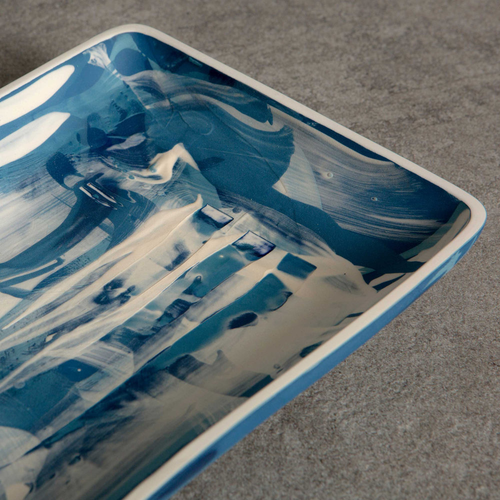 Great Waves Ceramic Platter by Rowena Gilbert