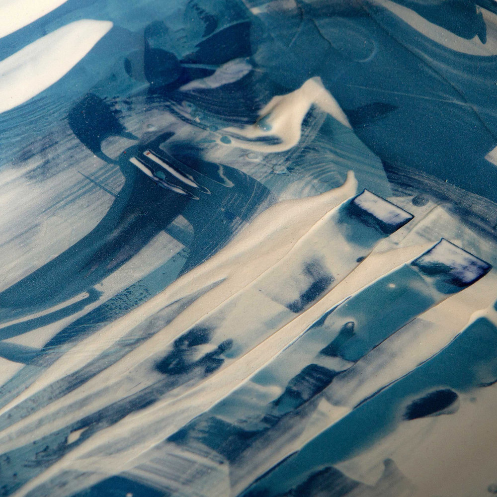 Ceramic Sgraffito Wave Pattern by Rowena Gilbert