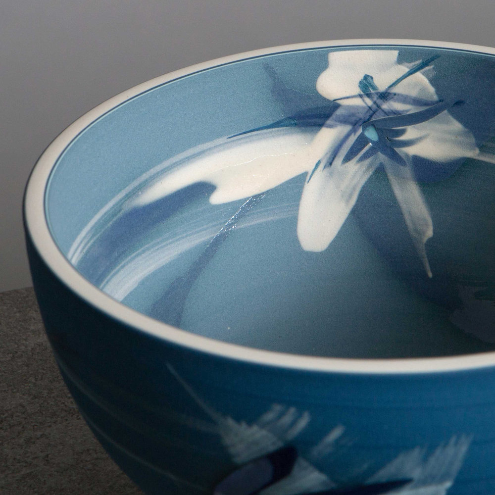Great Wave Contemporary Ceramic Bowl by Rowena Gilbert