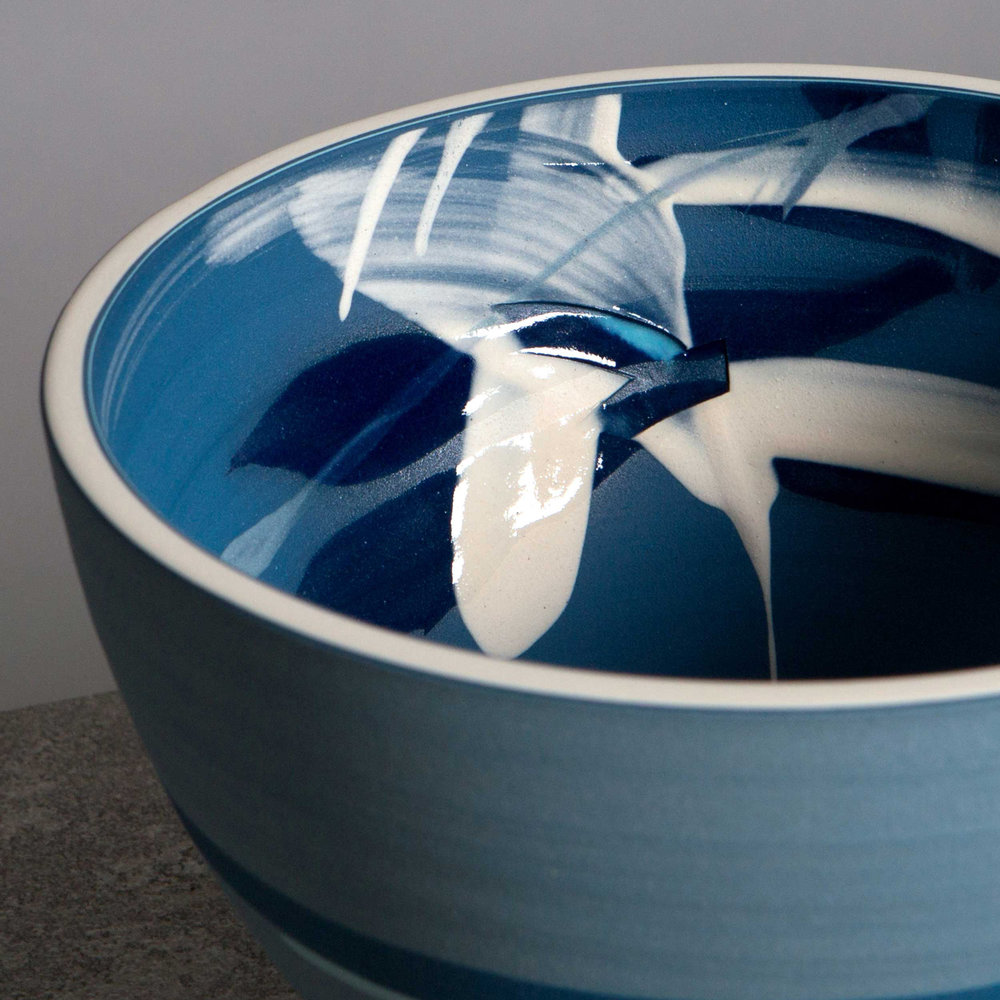 Great Wave  Blue Ceramic Bowl by Rowena Gilbert