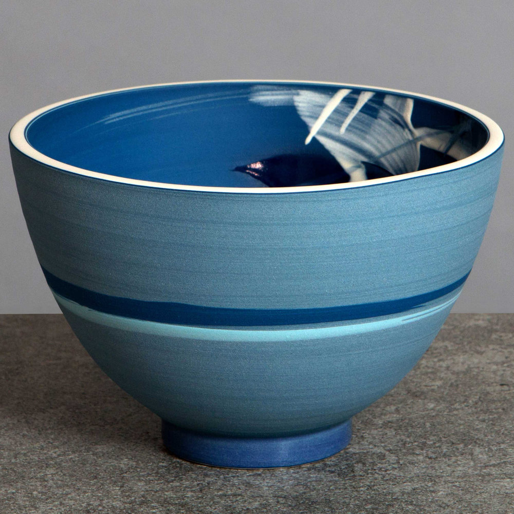 Blue Ceramic Seascape Bowl by Rowena Gilbert