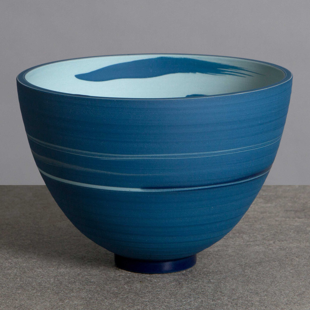 Blue Sea Ceramic Bowl by Rowena Gilbert