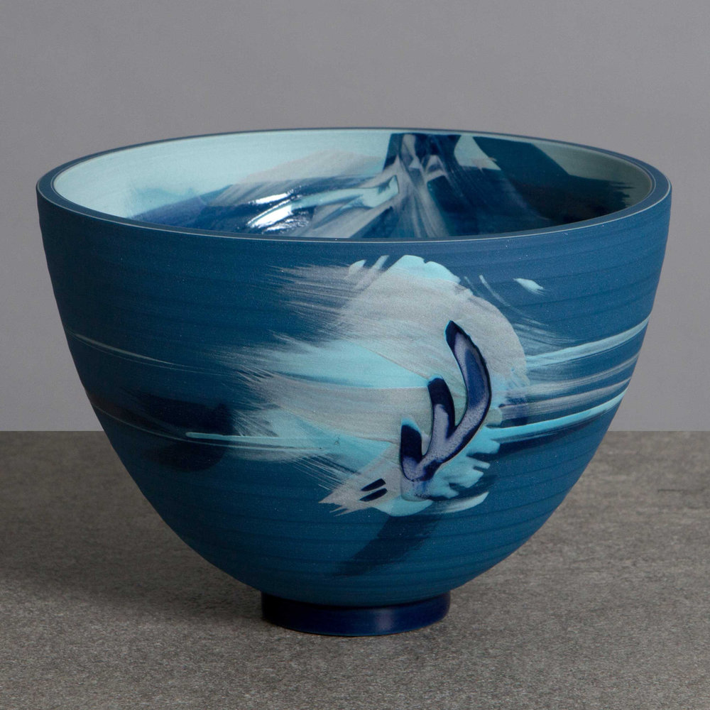 Blue Water Splash Ceramic Bowl by Rowena Gilbert