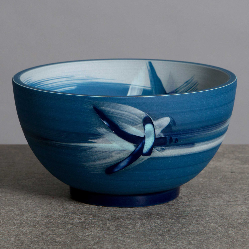 Wave Flight Blue Ceramic Bowl by Rowena Gilbert