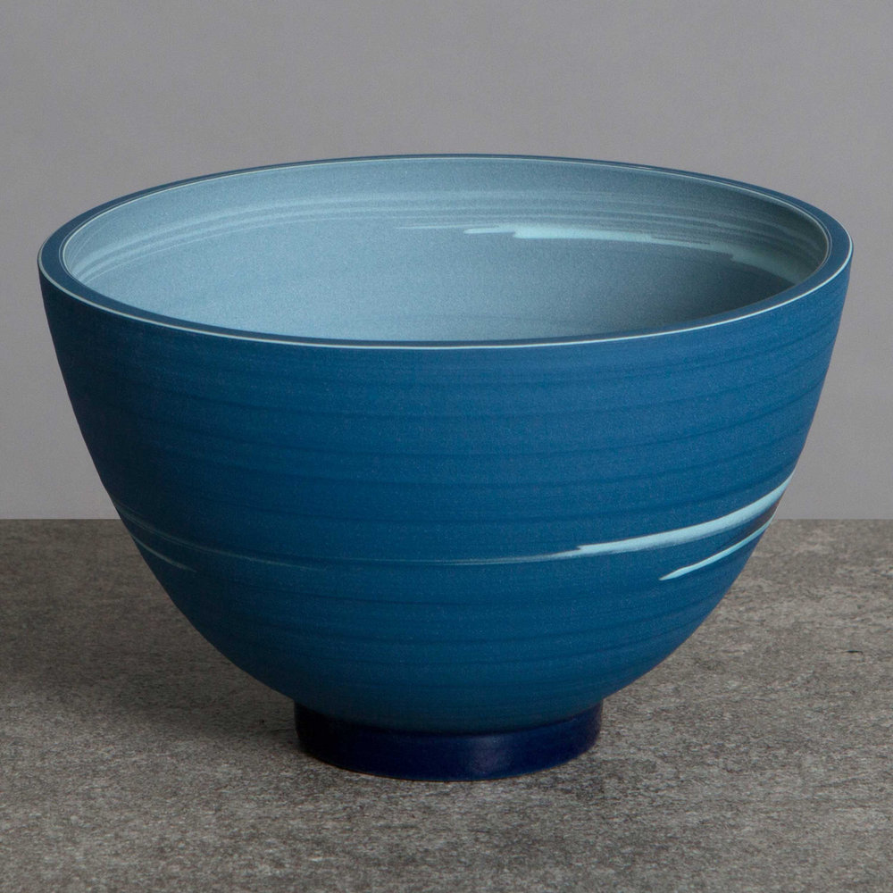Small Tall Blue Ceramic Bowl by Rowena Gilbert