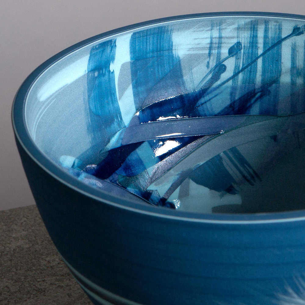 Surfing Waves Blue Ceramic Bowl by Rowena Gilbert