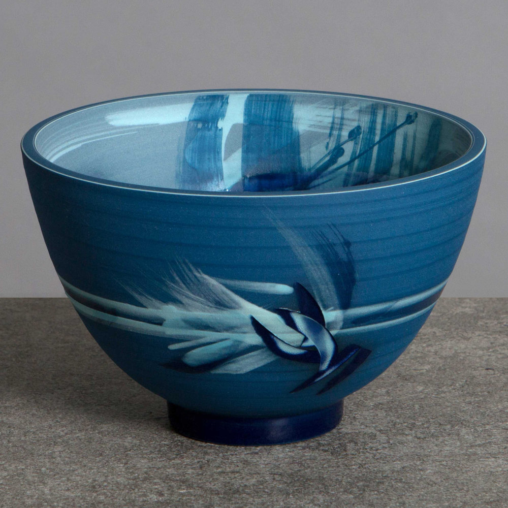 Breaking Waves Blue Ceramic Bowl by Rowena Gilbert