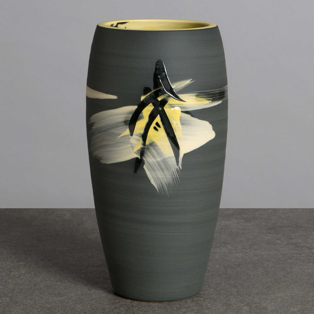 Above the Stars Ceramic Vase Charcoal Grey Yellow by Rowena Gilb