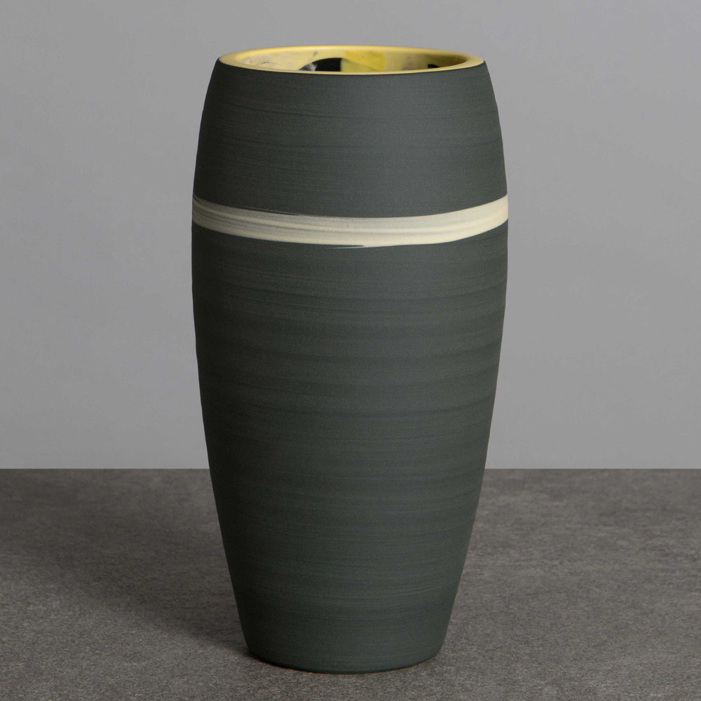 Grey Yellow Ceramic Vase by Rowena Gilbert