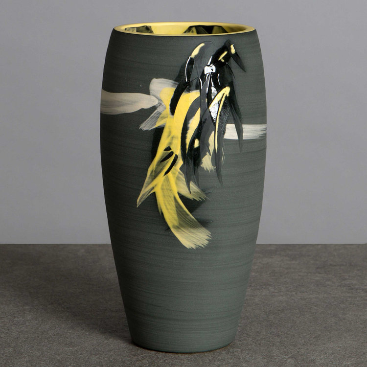Charcoal Grey Yellow Vase Stars Series Contemporary Ceramic
