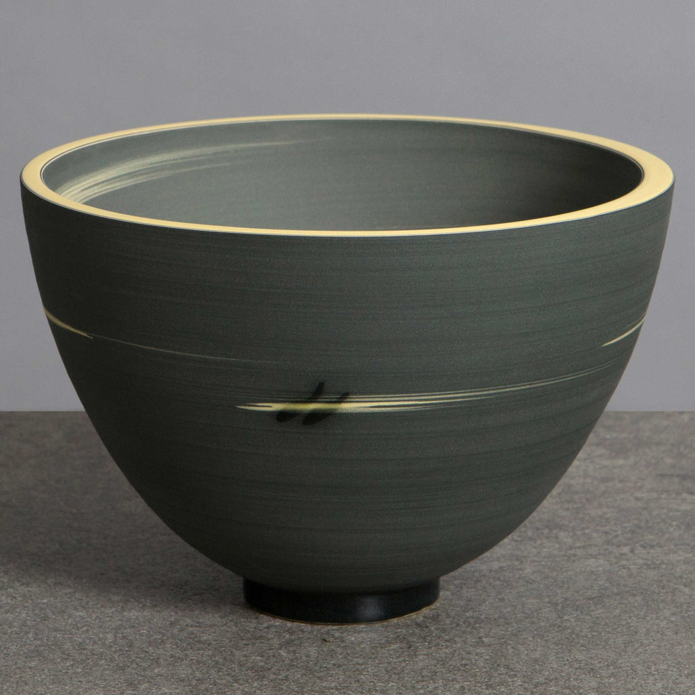 Charcoal Grey Yellow Ceramic Bowl by Rowena Gilbert