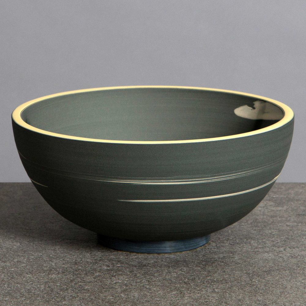 Charcoal Slate Yellow Ceramic Bowl by Rowena Gilbert