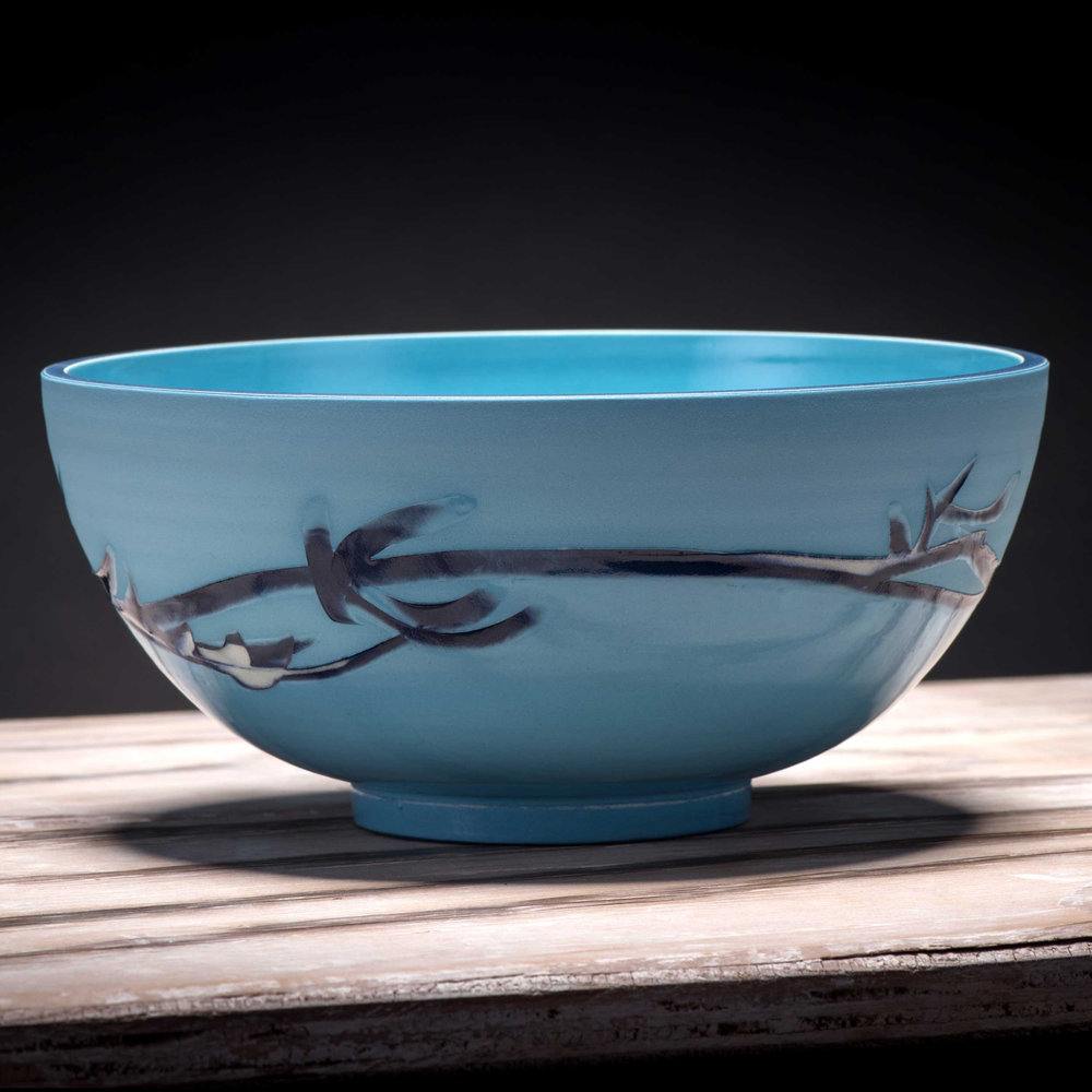 Ceramic Bowl Turquoise Blue Wave Pattern by Rowena Gilbert Coast