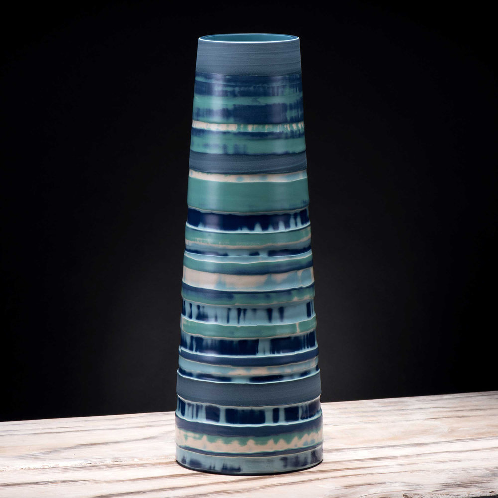 Stem Vase Coast Series Green Blue Ceramic by Rowena Gilbert