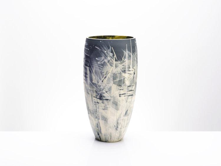 Vase Grey Black Yellow Stars Series Contemporary Ceramic Design