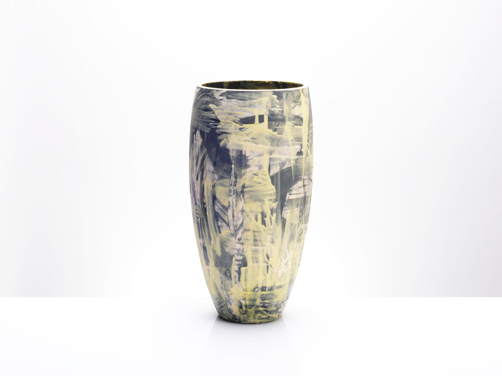 Yellow Grey Ceramic Vase by Rowena Gilbert