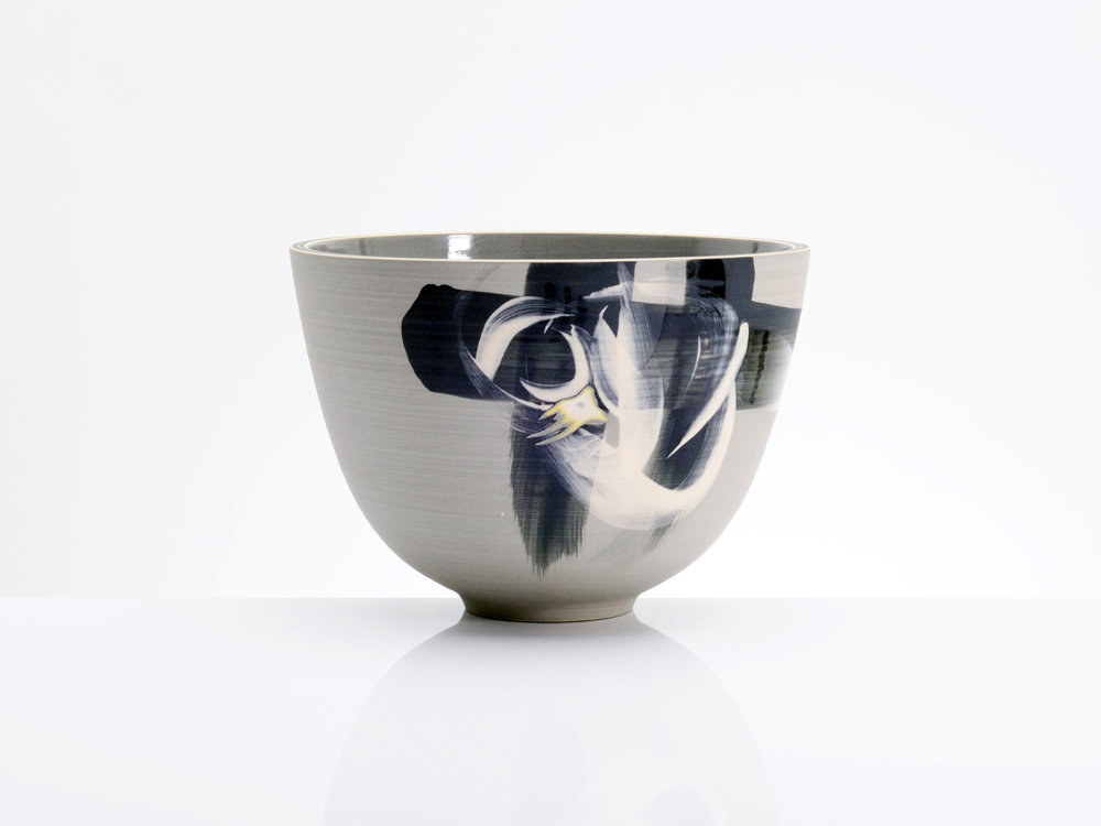 Grey Black Centre Bowl by Rowena Gilbert