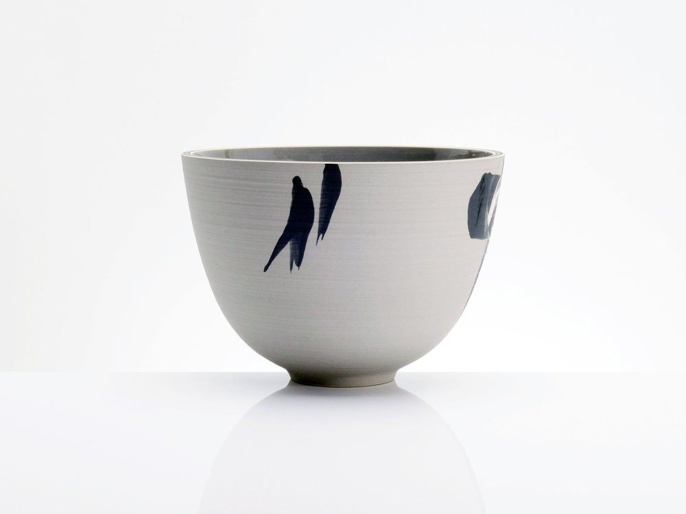 Pale Grey Black Bowl by Rowena Gilbert