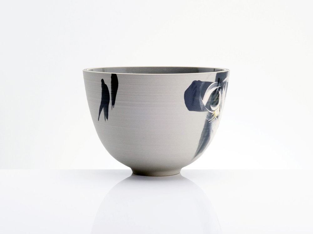 Grey Black Deep Bowl by Rowena Gilbert