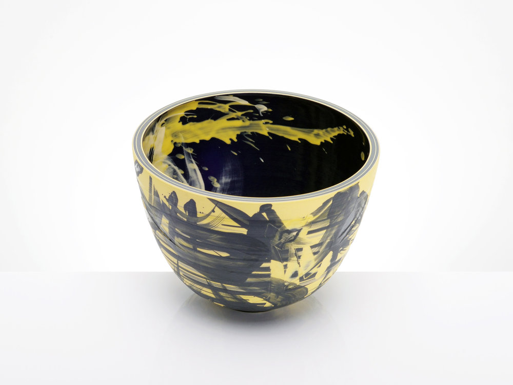 Contemporary Art Yellow Bowl by Rowena Gilbert