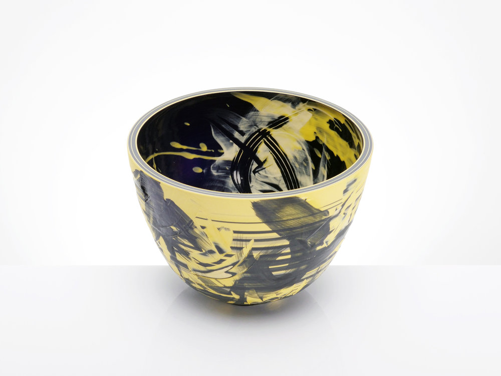 Black Yellow Star Gazing Bowl by Rowena Gilbert
