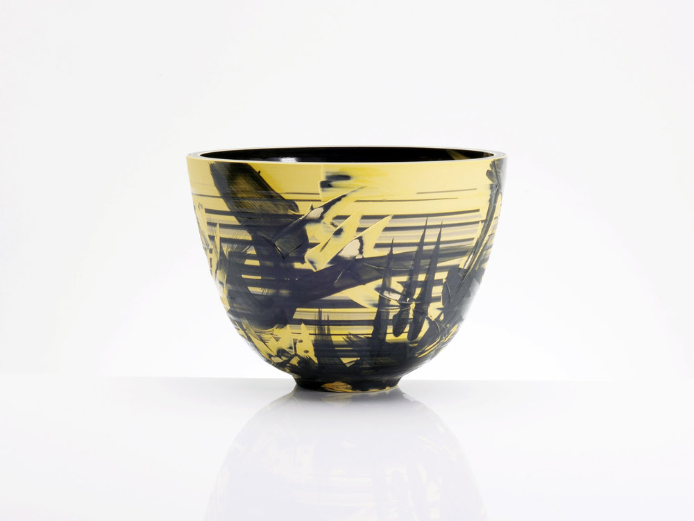 Contemporary Bowl Yellow Black Ceramics by Rowena Gilbert