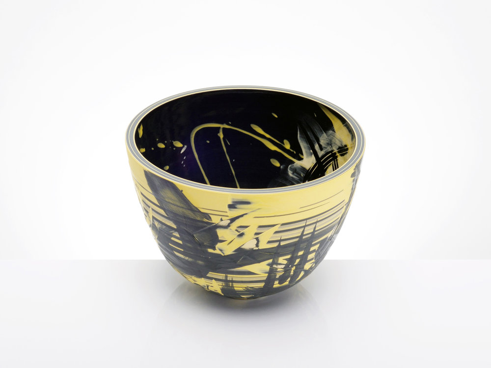 Expressive Black Yellow Bowl by Rowena Gilbert