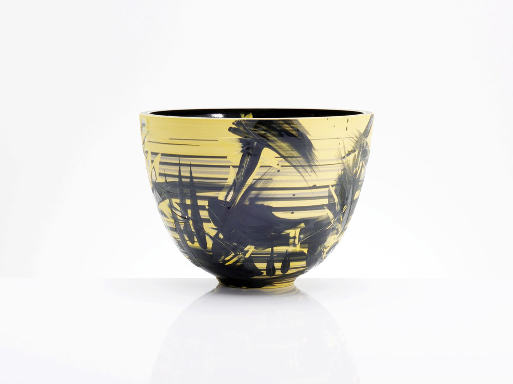 Yellow Black Supernova Bowl by Rowena Gilbert