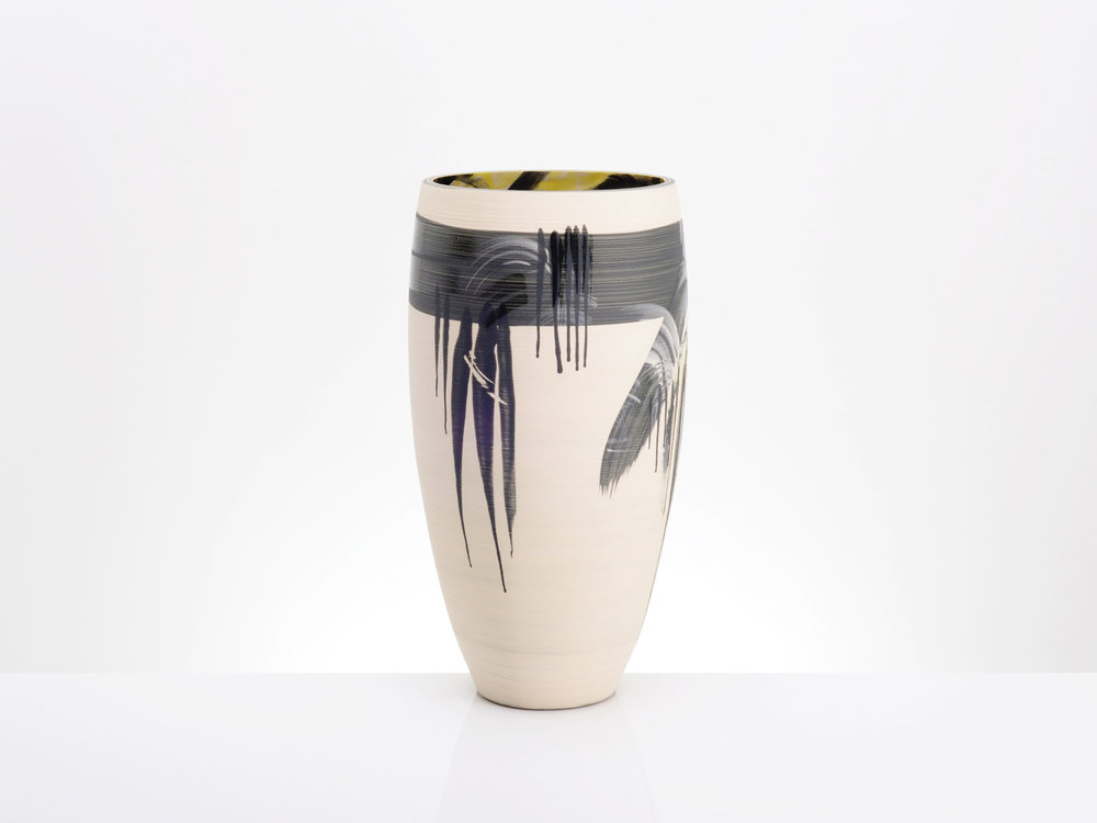 Feng Shui White Black Vase by Rowena Gilbert