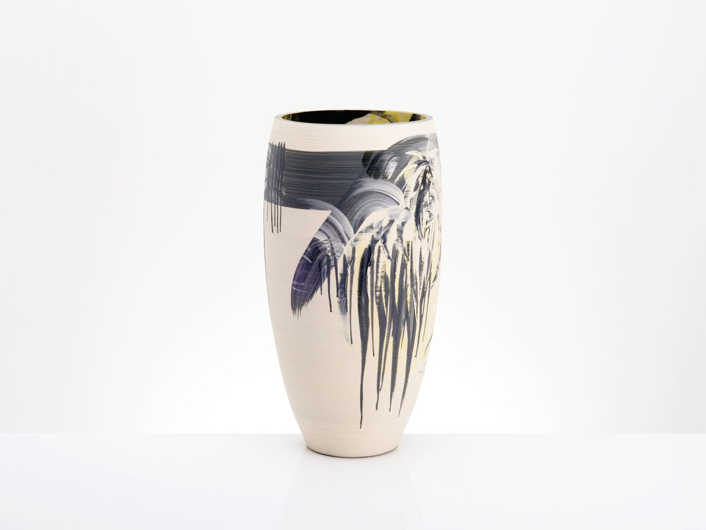 Abstract Expression Vase White Black by Rowena Gilbert
