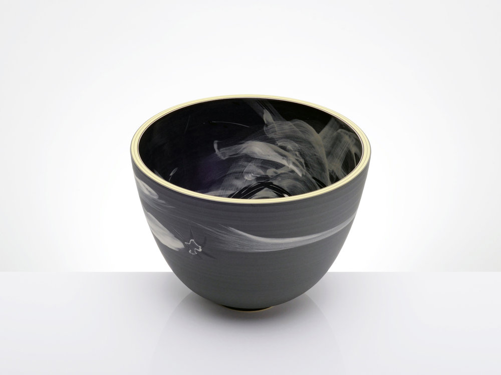 Shuriken Black Star Asteroid Bowl by Rowena Gilbert