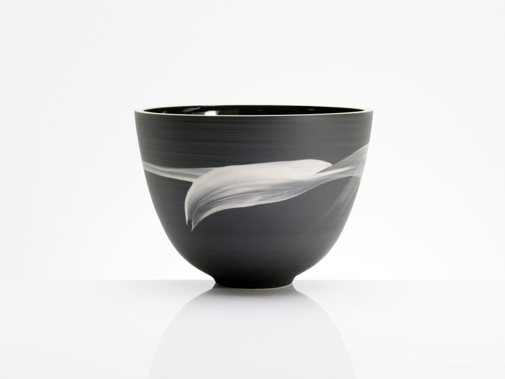 Asteriod Belt Black White Bowl by Rowena Gilbert