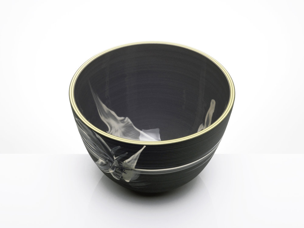 Smoke Design Grey Black Bowl by Rowena Gilbert
