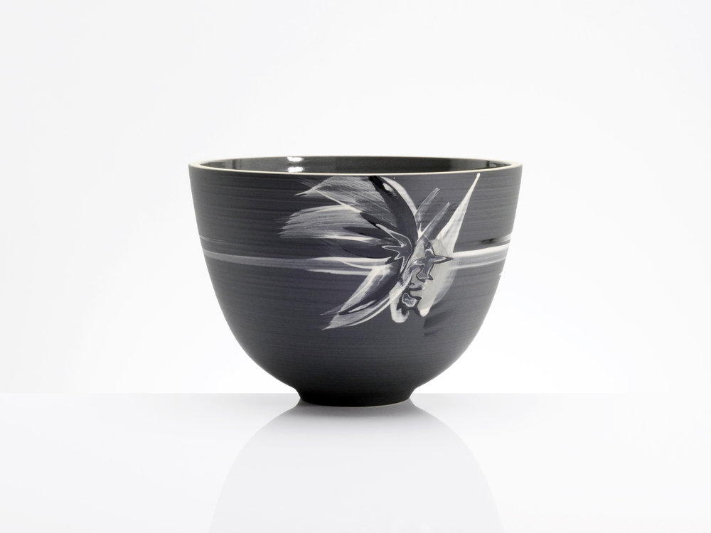 Grey Black Star Cluster Bowl by Rowena Gilbert