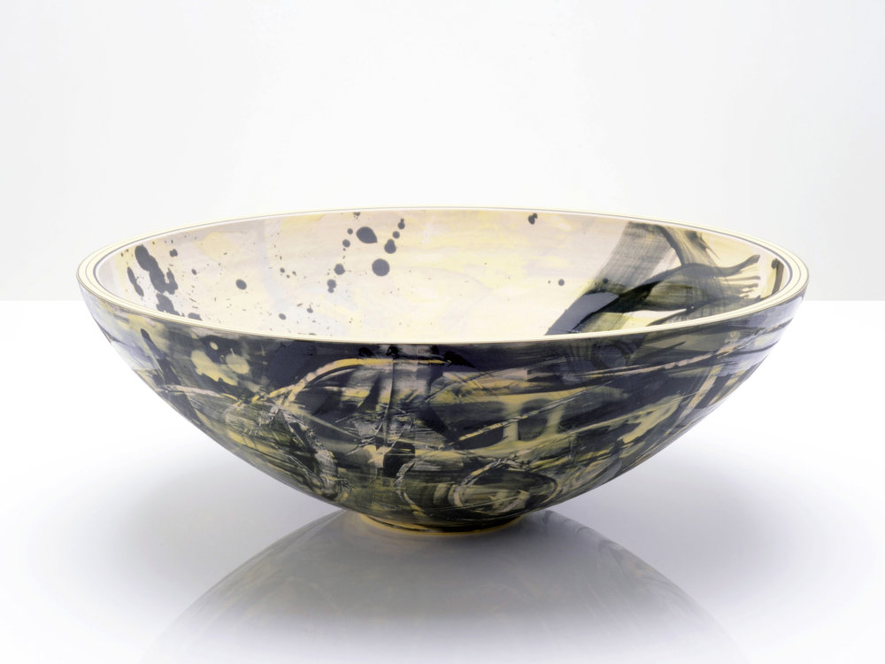 Black Yellow Galactic Bowl by Rowena Gilbert