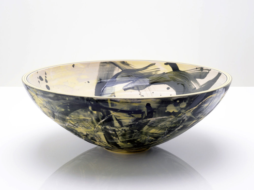 Black Yellow Star Bowl by Rowena Gilbert