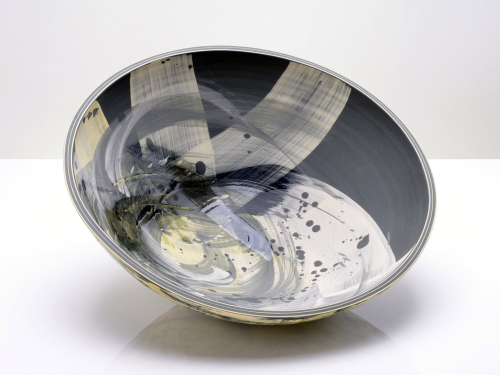 Dramatic Japanese Space Art Bowl by Rowena Gilbert