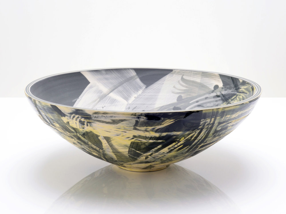 Yellow Grey Abstract Art Bowl by Rowena Gilbert