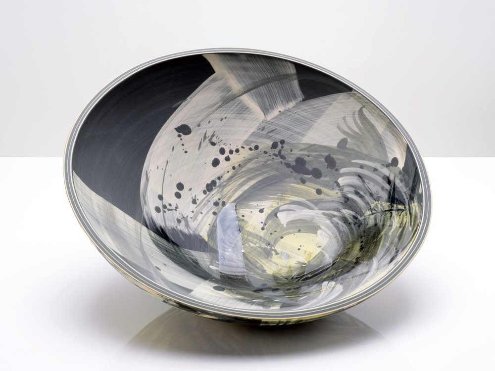 Black Hole Art Ceramic Bowl by Rowena Gilbert