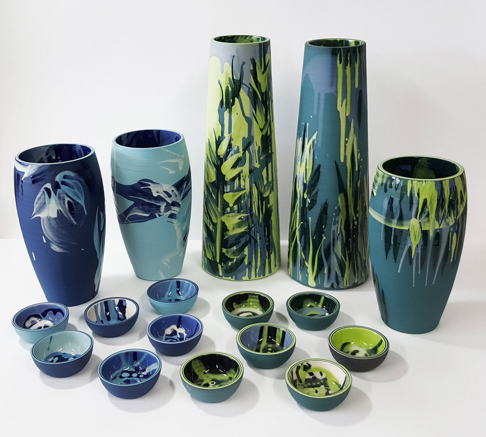 "Rowena Gilbert Contemporary Ceramics ""Jungle Dreams"" & ""Ocean Dreams"" 2018 Collection Ceramic Vases and Chiisana Bowls"