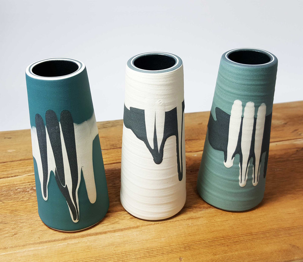 "Rowena Gilbert Contemporary Ceramics ""Woodland Wonders"" 2019 Collection Small Ceramic Stem Vases - 12 cm Tall"