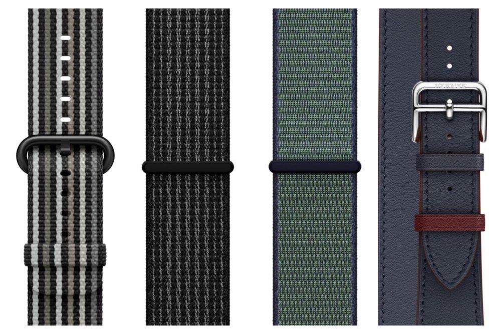 Black Stripe Woven Nylon, Black/Pure Platinum Nike Sport Loop, Midnight Fog Nike Sport Loop, Hermès Indigo/Rouge H Swift Leather Double Tour