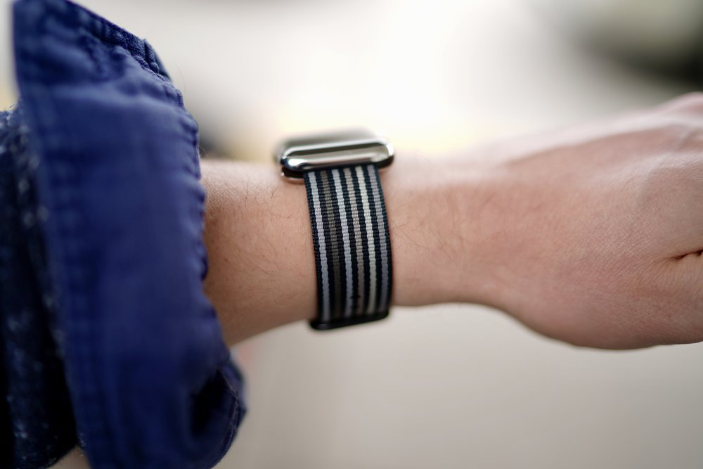 Black Stripe Woven Nylon For Apple Watch Hands On