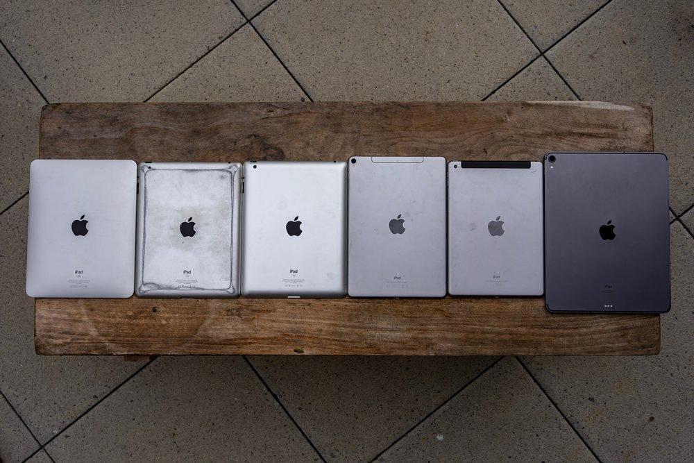 iPad, iPad 2, iPad 3, iPad Pro 10,5, iPad (2018), iPad Pro 12,9 (2018)