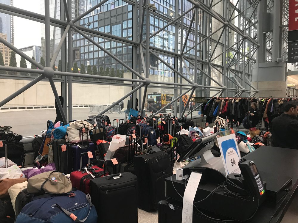 Luggage and coat check area for ANIME NYC