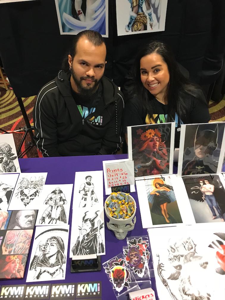 Ivan Estevez, the artist with Lauren Rodas at Wintercon 2018