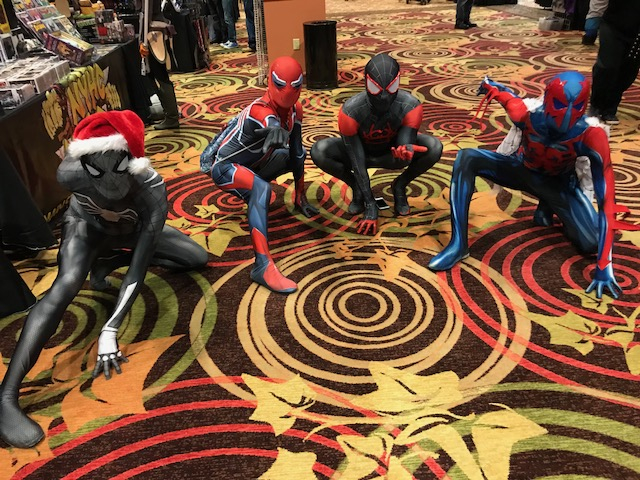 "This is ""Spidermonium"" at Wintercon 2018! Instagram @spideydetes, @thesnarkygayguy, @hit_cosplay, @latinnerdcosplayer"