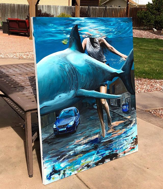 Varnished this guy a few weeks ago on a beautiful Colorado day 🌞🌎 I love the way the blue just pops outside!  #chrisallenart #blue #painting • • • • #fineart #juxtapoz #hifructose #artwork #artwork_in_studio #supportart #surrealism #contemporaryart #arte #shark #hurricanes #abstract #paint #collectart @redlinedenver @arts_helps @art.complex @artgommunity @artcollector.ae