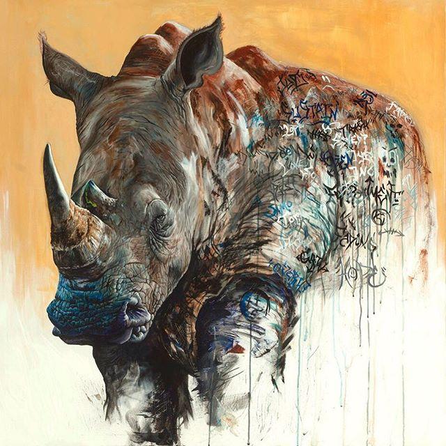 "Repost: ""Rhino"" (48""x48"") acrylic on canvas 2017 #chrisallenart #contemporaryart 🦏 • • • • #rhino #painting #graffiti #tags #artwork #juxtapoz #hifructose #artists_community #artists_magazine #artists_network #creativeuprising #delightfulart #supportart @artists_magazine @artists_community @1340art @artcollector.ae @artgommunity"